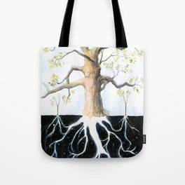 Underneath, Mother Tree and Seedlings, Surreal Illustration Tote Bag