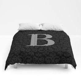 Modern Black Grey Damask Letter B Monogram Comforters