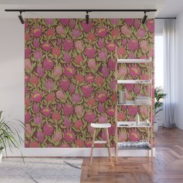 Pink protea flowers with green leaves on brown background Wall Mural