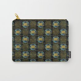 Luxury Chinese Golden Lotus on Abalone Carry-All Pouch