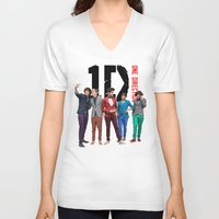one direction V-neck T-shirts featuring One Direction by Marianna