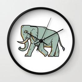 African Elephant Walking Mono Line Art Wall Clock