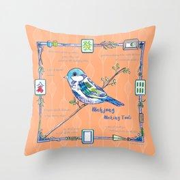 Sparrow Mahjong in Orange Throw Pillow