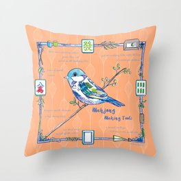 Sparrow Mahjong in Orange Throw Pillow