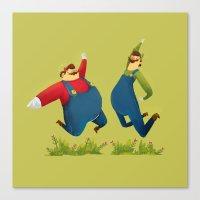 super mario Canvas Prints featuring SUPER MARIO by rafael mayani