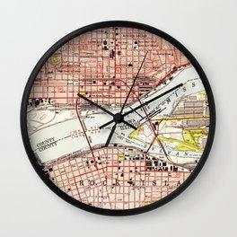 Vintage Map of Davenport Iowa (1953) Wall Clock