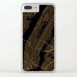 Black and gold New York City map Clear iPhone Case