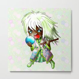 angry chibi witch with a broken crystal ball Metal Print
