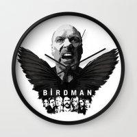 birdman Wall Clocks featuring Birdman by naidl