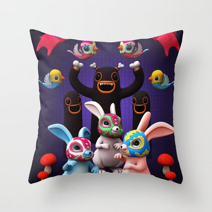 Lucha Rabbit Throw Pillow