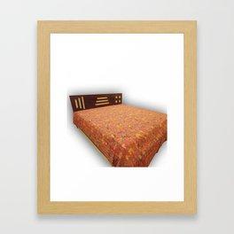 Handmade Bird Print Kantha Bedcover / Blanket Framed Art Print