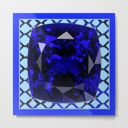 BLUE  SAPPHIRE DECEMBER GEM BIRTHSTONE MODERN ART Metal Print