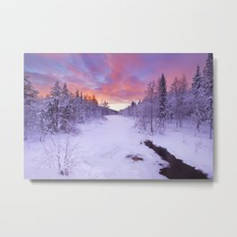 I - Sunrise over a river in winter near Levi, Finnish Lapland Metal Print