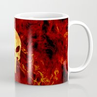punisher Mugs featuring PUNISHER SKULL FLAME by alexa