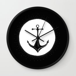 Anchor Point (white on black) Wall Clock
