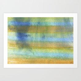 Yellow blue abstract rainbow painting Art Print