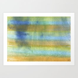 Yellow blue abstract rainbow painting Art Print