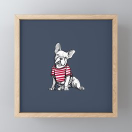 French Bulldog Wearing a Red and White Striped T-Shirt Framed Mini Art Print