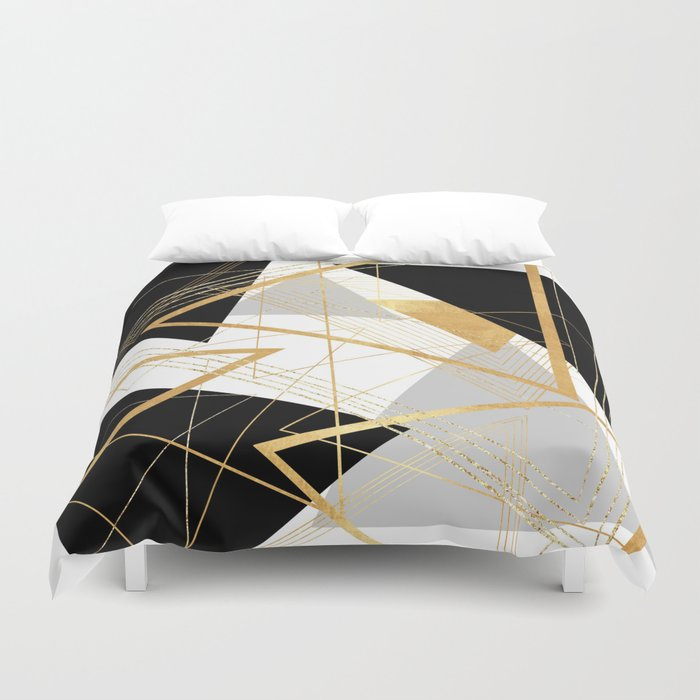 black and gold geometric duvet cover by lisaguenraymond society6. Black Bedroom Furniture Sets. Home Design Ideas