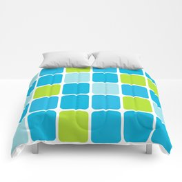 blue and green squares  Comforters