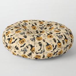 Halloween pumpkin pattern, black cat skeleton, owl, spider web design Floor Pillow