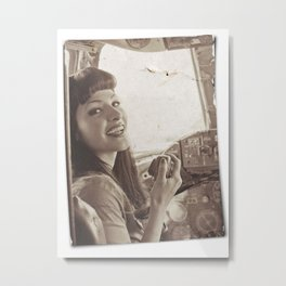 """""""Roger That"""" - The Playful Pinup - Sepia Weathered Air Force Pinup Girl by Maxwell H. Johnson Metal Print"""
