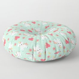 Baby Unicorn with Hearts Floor Pillow