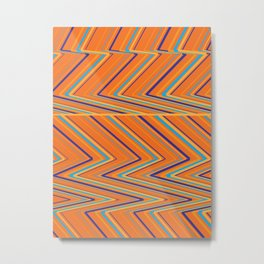Zig-Zag lines orange Metal Print
