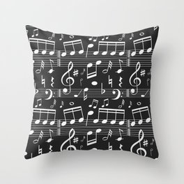 Music Notes Pattern Throw Pillow