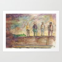 trainspotting Art Prints featuring Trainspotting - coffee & watercolour by emmy.