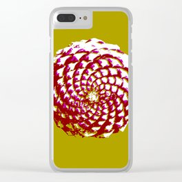 pine cone in olive green, purple and burgandy Clear iPhone Case