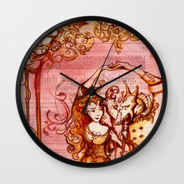 Much Ado About Nothing - Masquerade - Shakespeare Folio Illustration Wall Clock
