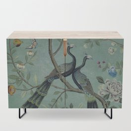 A Teal of Two Birds Chinoiserie Credenza