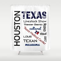 houston Shower Curtains featuring Houston Texas by raineon
