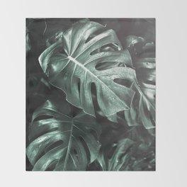 Monstera leaves, Palm Leaf Throw Blanket