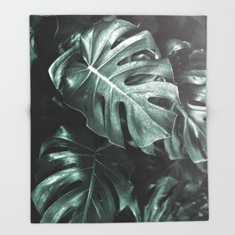 Monstera leaves, Palm Leaf Throw Blanket