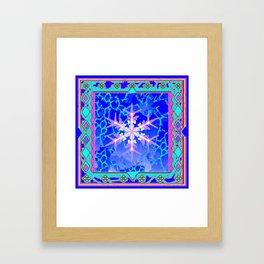 Blue Frozen Snowflake Abstract Art Framed Art Print
