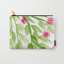 Pink Rosebuds in Watercolor Carry-All Pouch