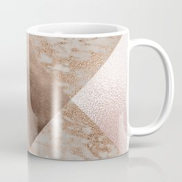 Copper and Blush Rose Gold Marble Gingham Coffee Mug