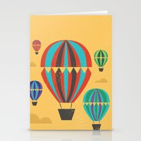 hot air balloons Stationery Cards featuring Hot Air Balloons by Marina Design