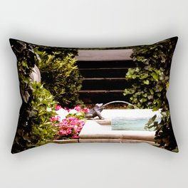 Secret Garden with Frog Prince Fountain Rectangular Pillow