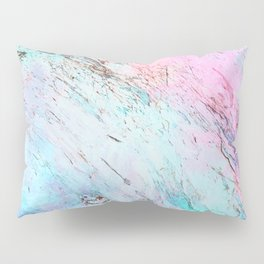 Abstract modern  pink teal lavender watercolor marble Pillow Sham