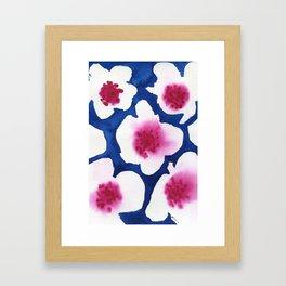 Splendor -dark blue and pink floral watercolor Framed Art Print