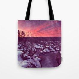 Great Falls Winter Twilight - Violet Velvet Fantasy Tote Bag