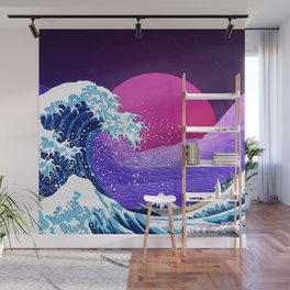 Synthwave Space: The Great Wave off Kanagawa #2 Wall Mural