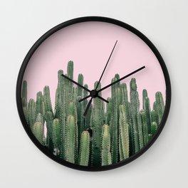 Pink Sky Cactus Wall Clock