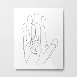 Family of Three Hands in One Line Art Metal Print