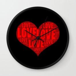 Heart shape with text love inside Wall Clock