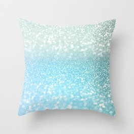 Mermaid Sea Foam Ocean Ombre Glitter Throw Pillow