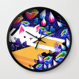 Piano Cat in the Forest Wall Clock
